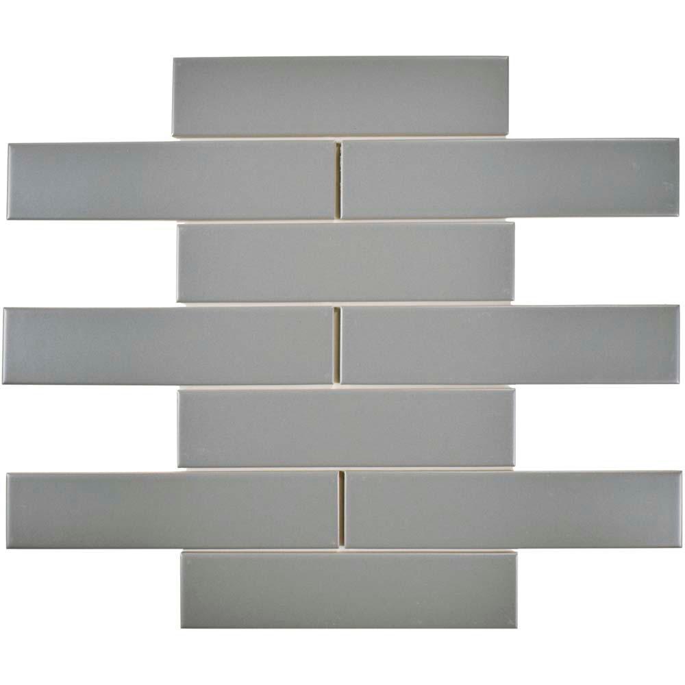 Merola Tile Metro Soho Subway Matte Light Grey 1 3 4 In X