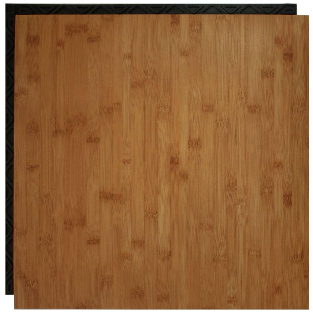 Place N\' Go Bamboo 18.5 in. x 18.5 in. Interlocking Waterproof Vinyl ...