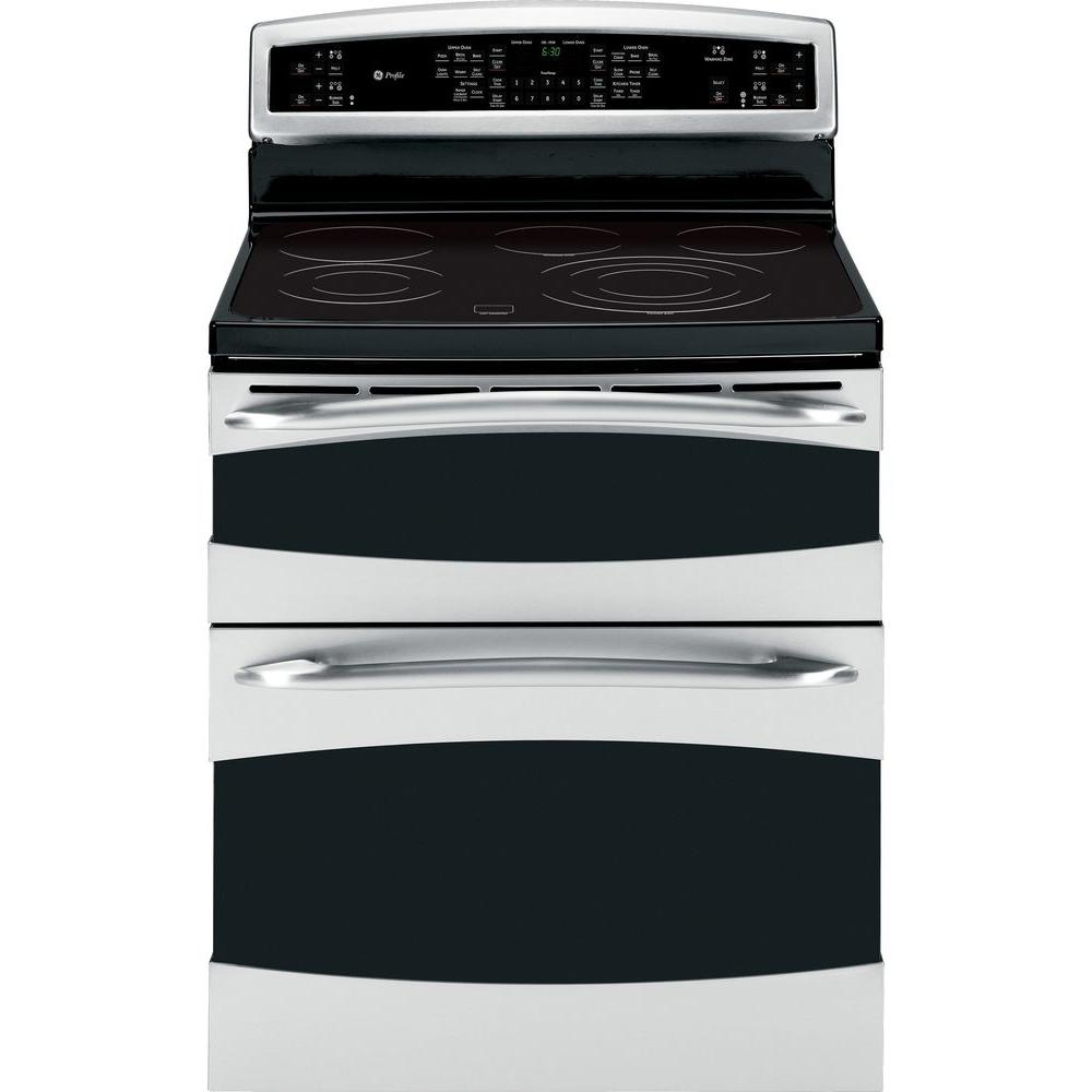 GE Profile 6.6 cu. ft. Double Oven Electric Range with Self-Cleaning Convection Oven in Stainless Steel