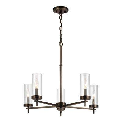 Zire 5-Light Brushed Oil Rubbed Bronze Chandelier with Clear Glass Shades