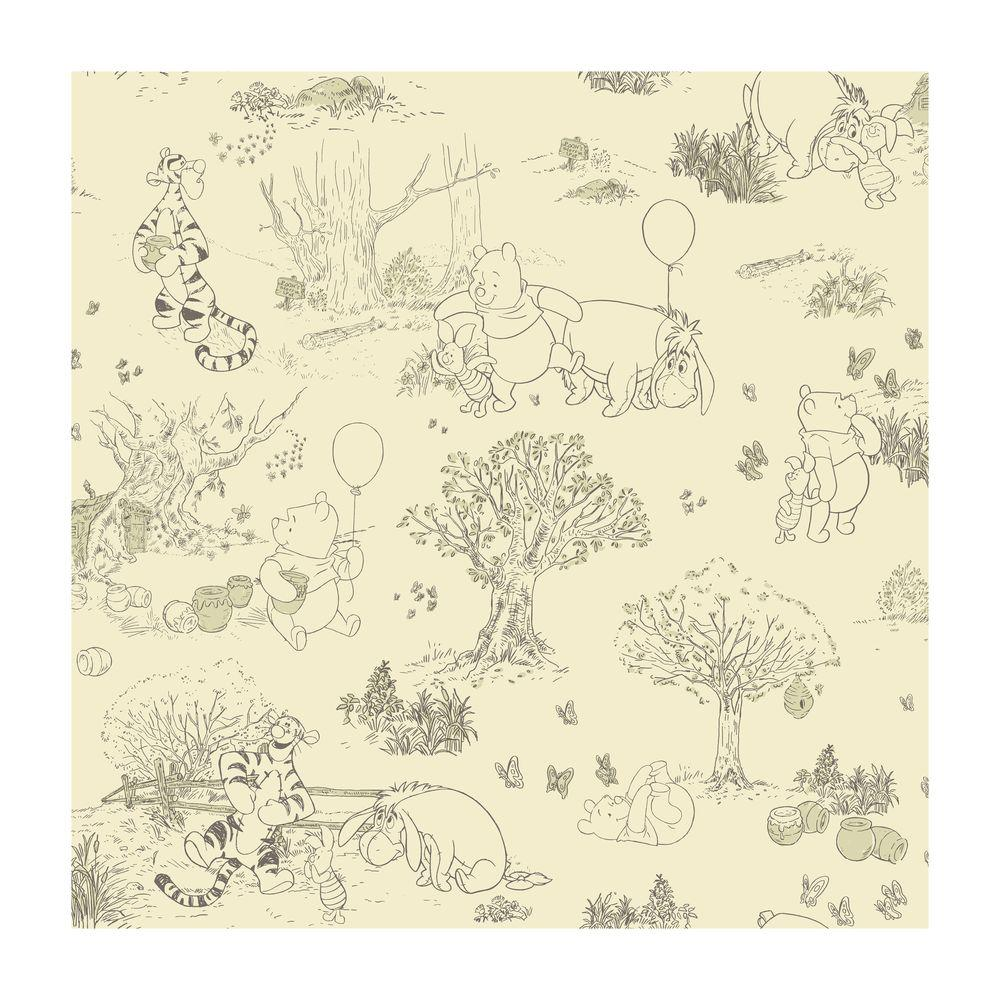 Wallpaper Winnie The Pooh: York Wallcoverings Pooh And Friends Toile Wallpaper-DK5842