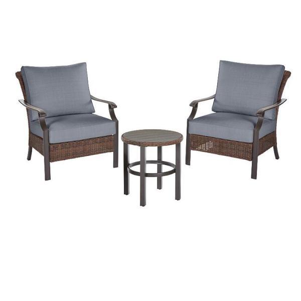 Harper Creek  Brown 3-Piece Steel Outdoor Patio Chair Set with CushionGuard Steel Blue Cushions