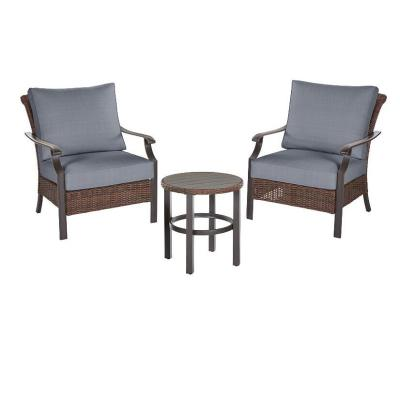 Harper Creek  Brown 3-Piece Steel Outdoor Patio Chair Set with CushionGuard Steel Blue Cushions