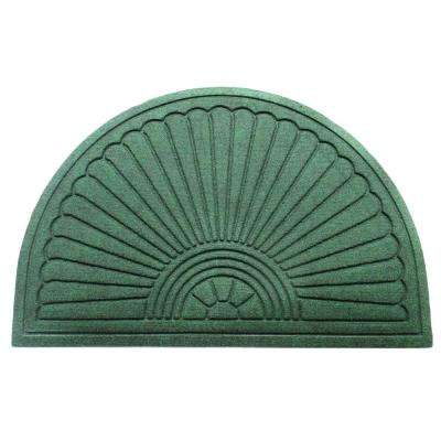 A1HC Half-Moon Green 24 in. x 36 in. Eco-Poly Indoor/Outdoor Mat with Anti-Slip Tire Crumb Backing