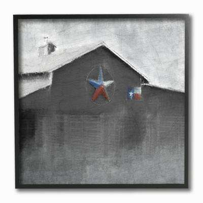 "12 in. x 12 in. ""Southern Barn with Americana Star Painting"" by Kimberly Allen Framed Wall Art"
