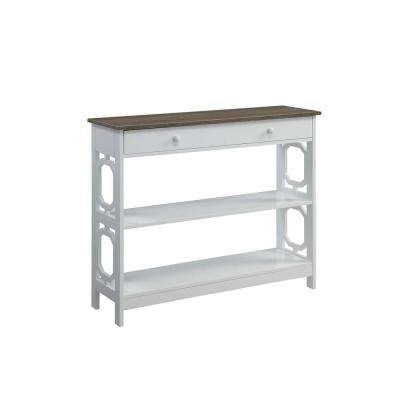 Omega Driftwood Top with White Frame 1-Drawer Console Table