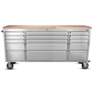 72 inch 15-Drawer Work Bench, Stainless Steel by