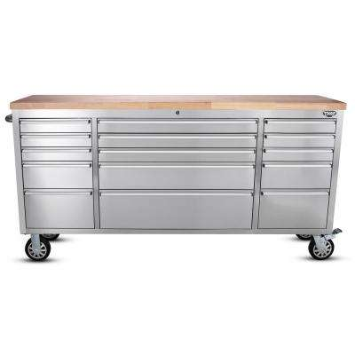 72 in. 15-Drawer Workbench, Stainless Steel