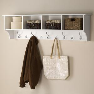 Prepac 60 In Wall Mounted Coat Rack In White Wec 6016