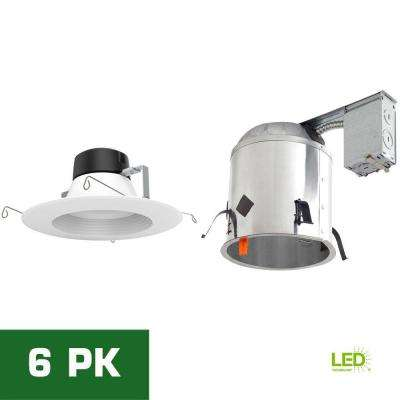 6 in. LED Recessed Remodel Housing with Standard Retrofit White LED Trim Kit, 4000K (6-Pack)