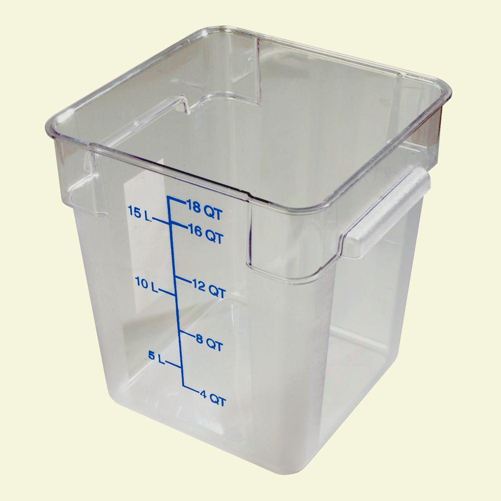 18 qt. Polycarbonate Square Food Storage Container in Clear, Lid not