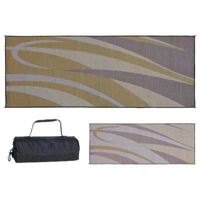 8 ft. x 20 ft. Graphic Brown/Gold Polypropylene Reversible Outdoor Camping Patio RV Mat