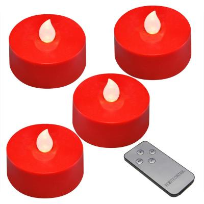Red Battery Operated Extra Large Tea Lights with Remote Control and 2-Timers (4-Count)