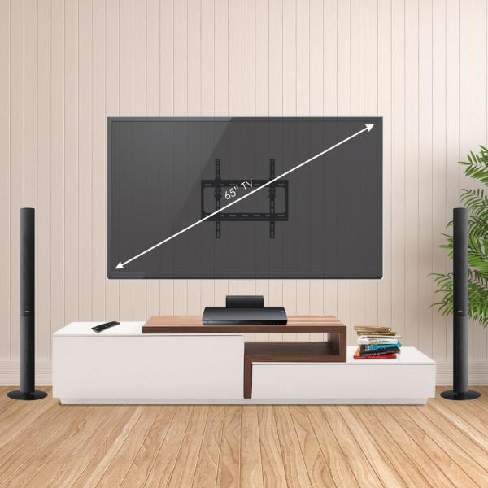 Furinno Modern Wall Mount Tv Bracket For Tv In Black Frlb001bk The Home Depot