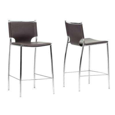 Montclare Brown Faux Leather Upholstered 2-Piece Counter Stool Set