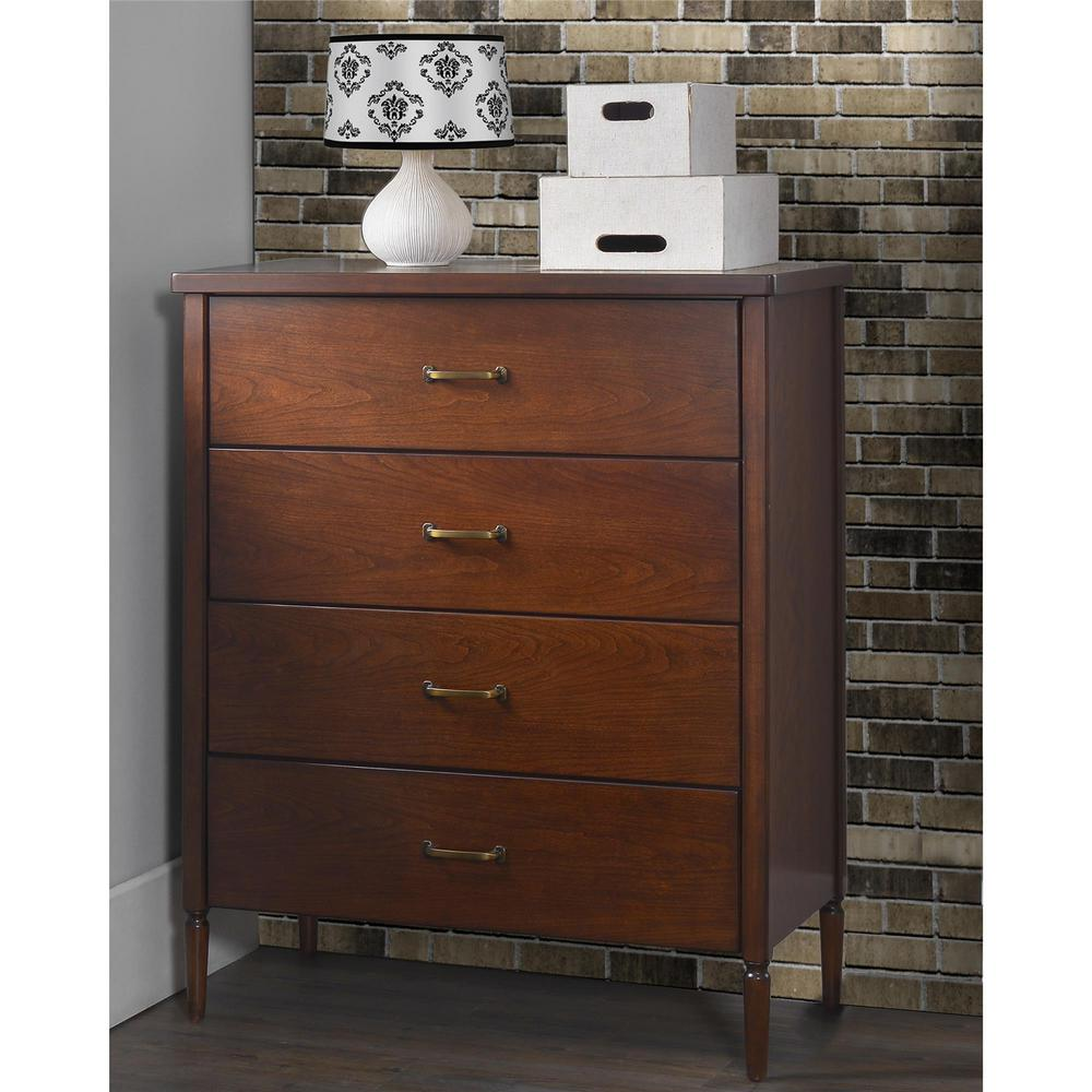 Brook Lane Walnut 4-Drawer Chest