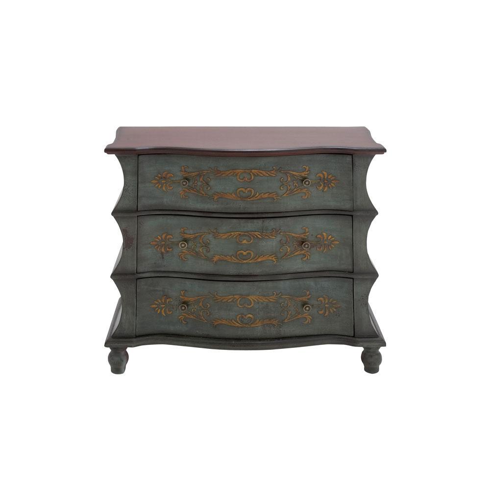 Litton Lane Antique Green 3 Drawer Wooden Dresser
