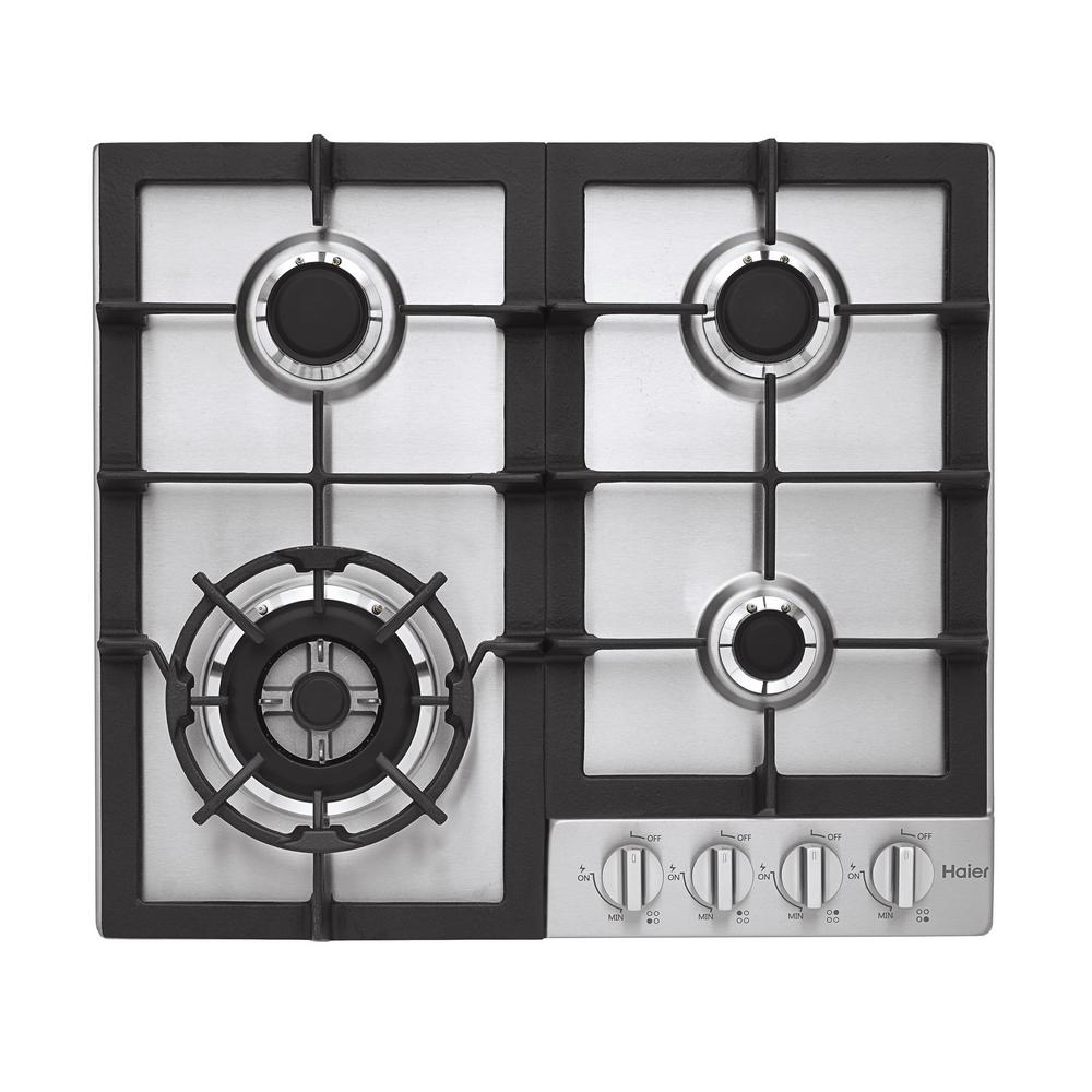 Haier 24 in. Gas Cooktop in Stainless Steel with 4-Burners