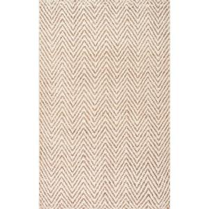 Vania Chevron Jute Off White 8 ft. x 10 ft. Area Rug