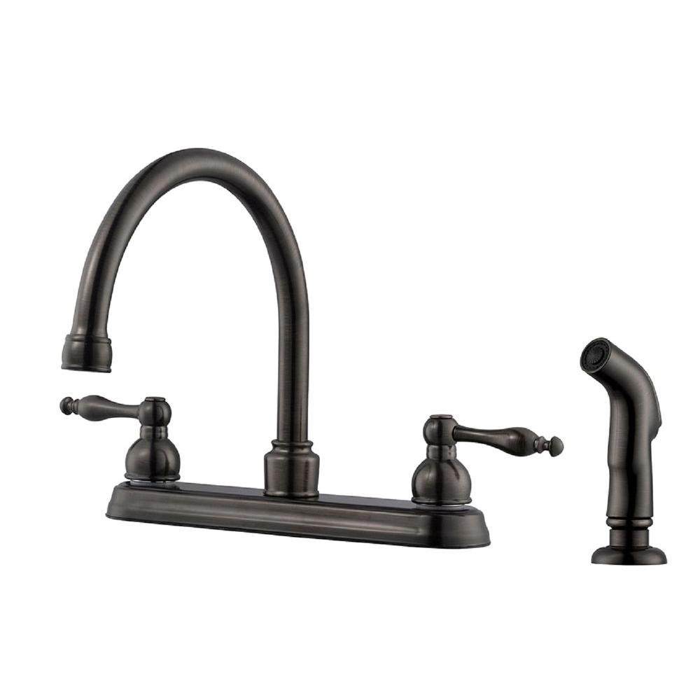 design house saratoga 2 handle standard kitchen faucet with side sprayer in brushed bronze. Black Bedroom Furniture Sets. Home Design Ideas