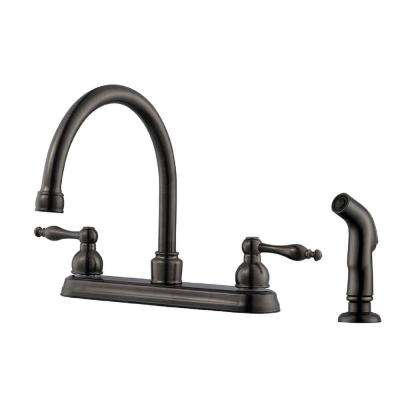 Saratoga 2-Handle Standard Kitchen Faucet with Side Sprayer in Brushed Bronze