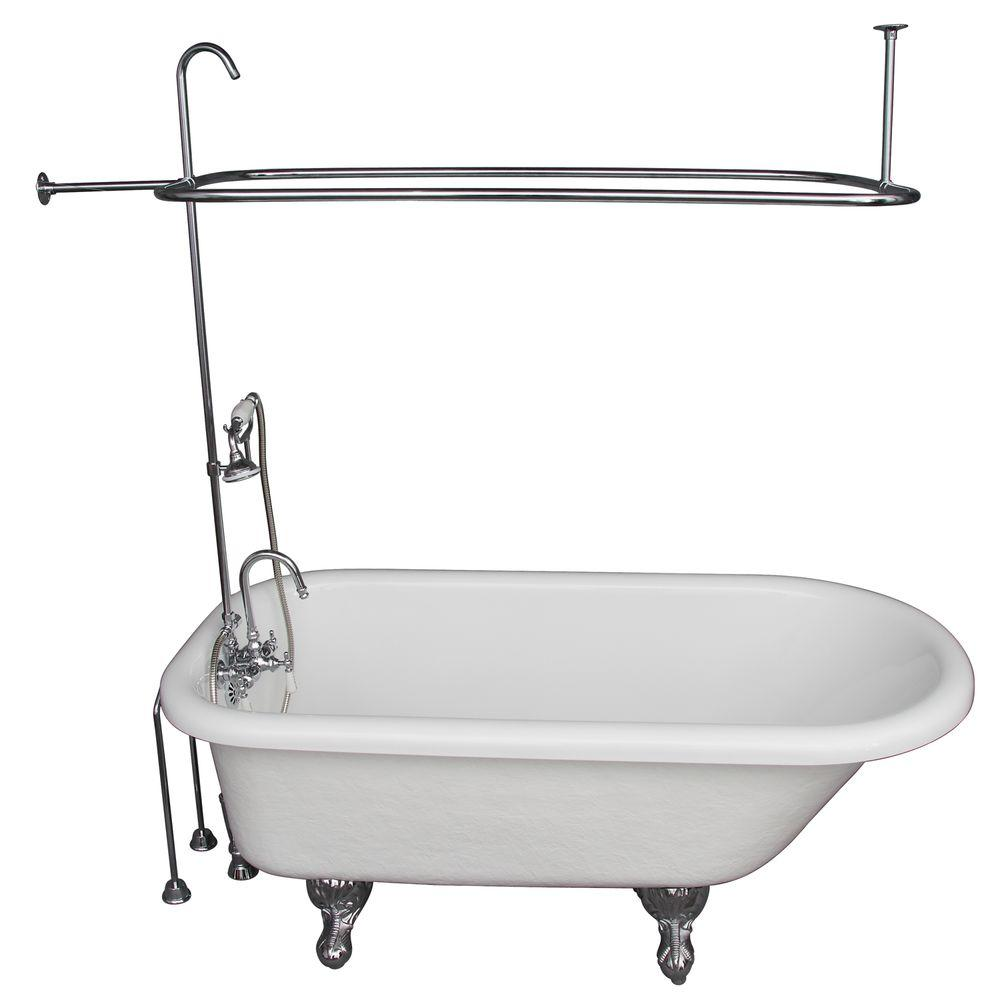 Barclay Products 5 ft. Acrylic Ball and Claw Feet Roll Top Tub in ...