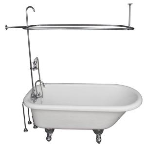 Barclay Products 5 ft. Acrylic Ball and Claw Feet Roll Top Tub in White with Polished Chrome Accessories by Barclay Products