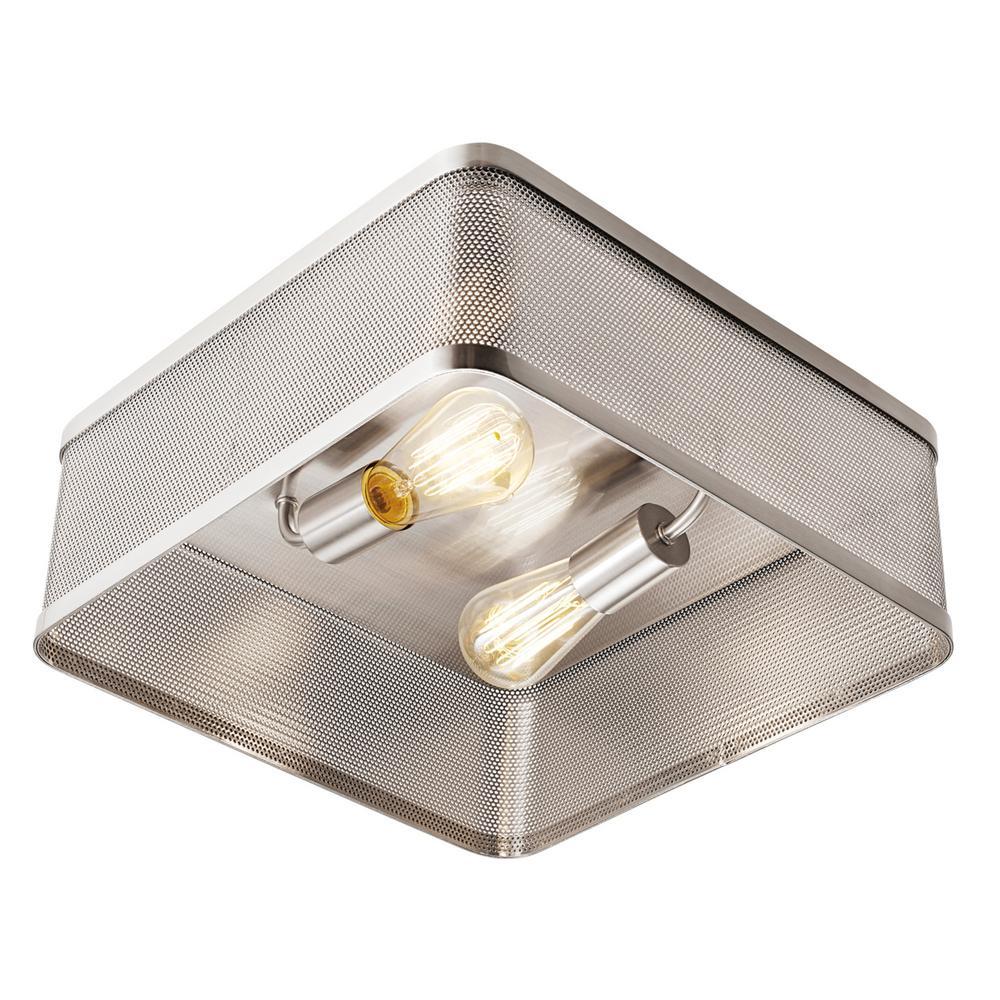 Gayton 2-Light Brushed Nickel Flush Mount Ceiling Light with Perforated Shade