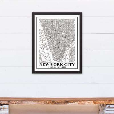16 in. x 20 in. ''New York City Map'' Printed Framed Canvas Wall Art