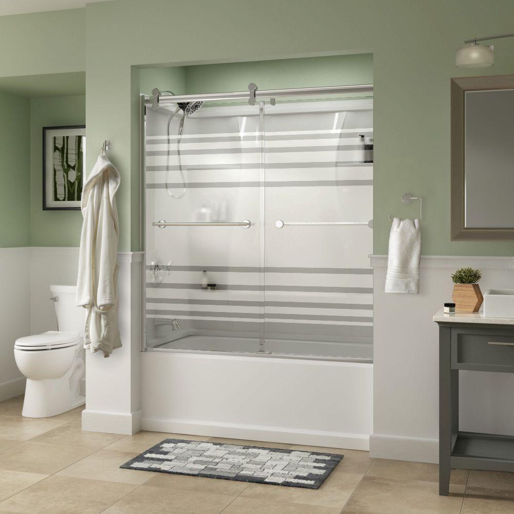 Lyndall 60 in. x 58-3/4 in. Semi-Frameless Contemporary Sliding Bathtub Door