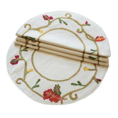 16 in. Round Harvest Vine Crewel Embroidered Harvest Doily (4-Set)