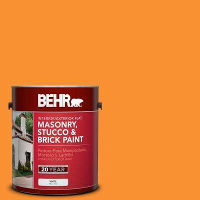 1 gal. #P240-7 Joyful Orange Flat Interior/Exterior Masonry, Stucco and Brick Paint