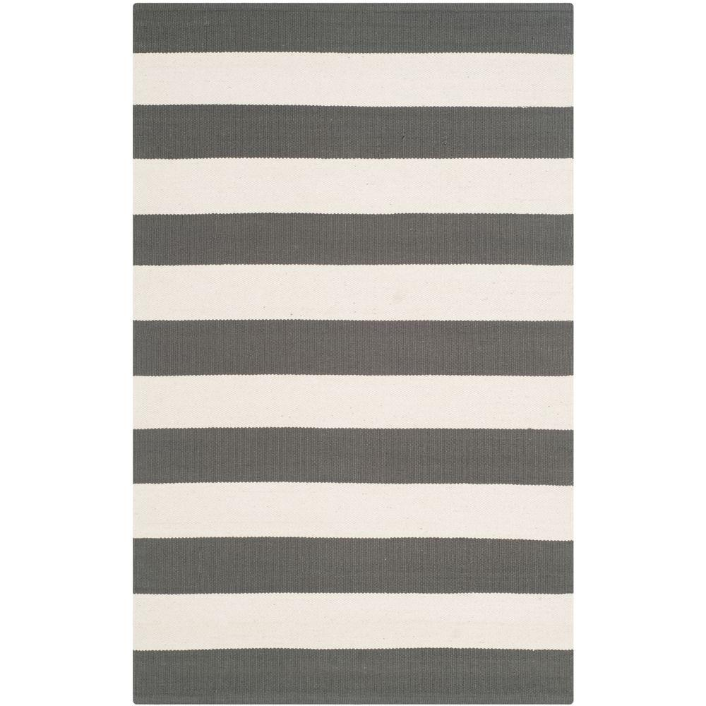Gypsy Stripe Turquoise Grey Woven Cotton Rug: Safavieh Montauk Grey/Ivory 2 Ft. 6 In. X 4 Ft. Area Rug