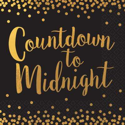 New Year's 6.5 in. x 6.5 in. Black Countdown to Midnight Hot stamped Lunch Napkin (16-Count, 3-Pack)