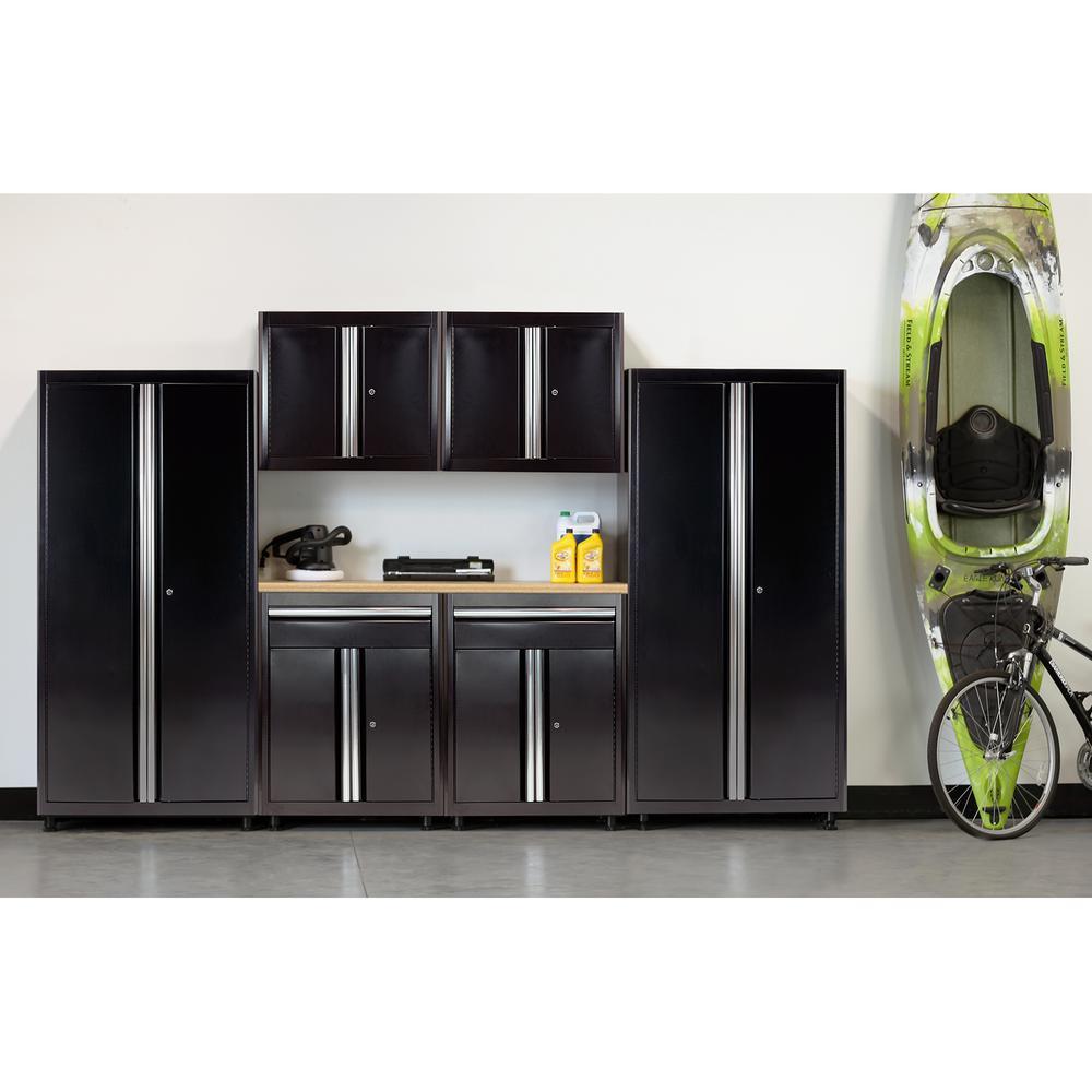American Heritage 75 in. H x 132 in. W x 18 in. D Welded Steel Garage Cabinet Set in Black (7-Piece)