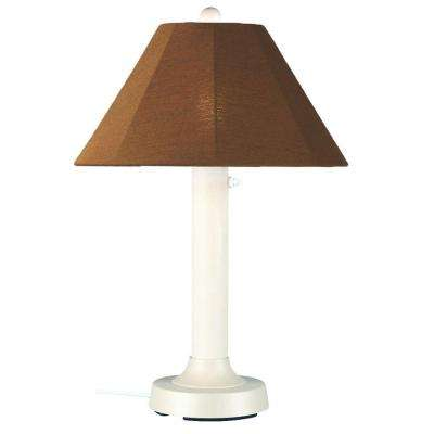 Seaside 34 in. Outdoor White Table Lamp with Teak Shade