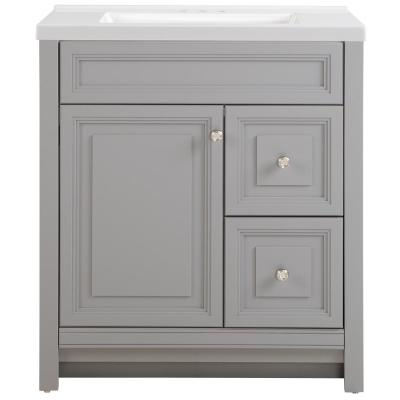 Brinkhill 31 in. W x 22 in. D Bath Vanity in Sterling Gray with Cultured Marble Vanity Top in White with White Sink