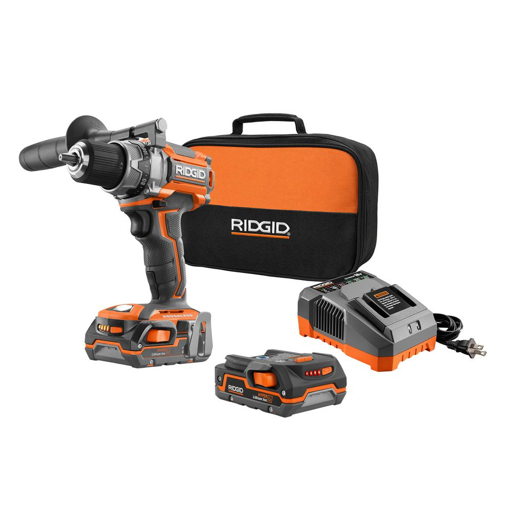 RIDGID 18-Volt Lithium-Ion Cordless Brushless 1/2 in. Compact Drill/Driver Kit with (2) 1.5 Ah Batteries, Charger, and Bag