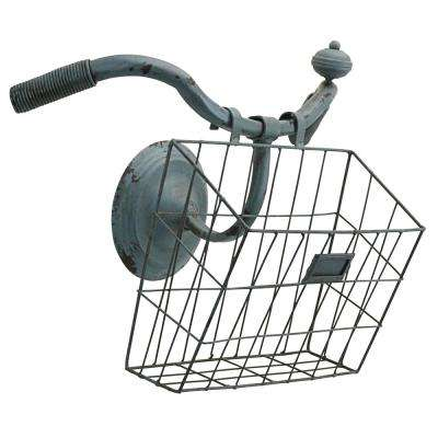 12.5 in. H Weather Worn Vintage Bicycle Basket Wall Planter Magazine Rack Sculpture