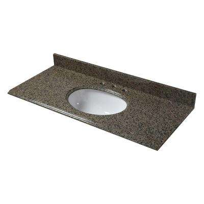 49 in. W Granite Vanity Top in Quadro with White Bowl and 8 in. Faucet Spread in Quadro