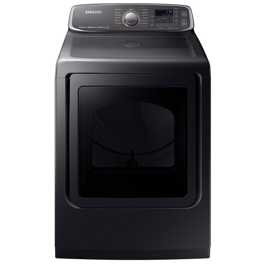 Samsung 7 4 Cu Ft Gas Dryer With Steam In Black Stainless Energy Star Dvg52m7750v The Home Depot