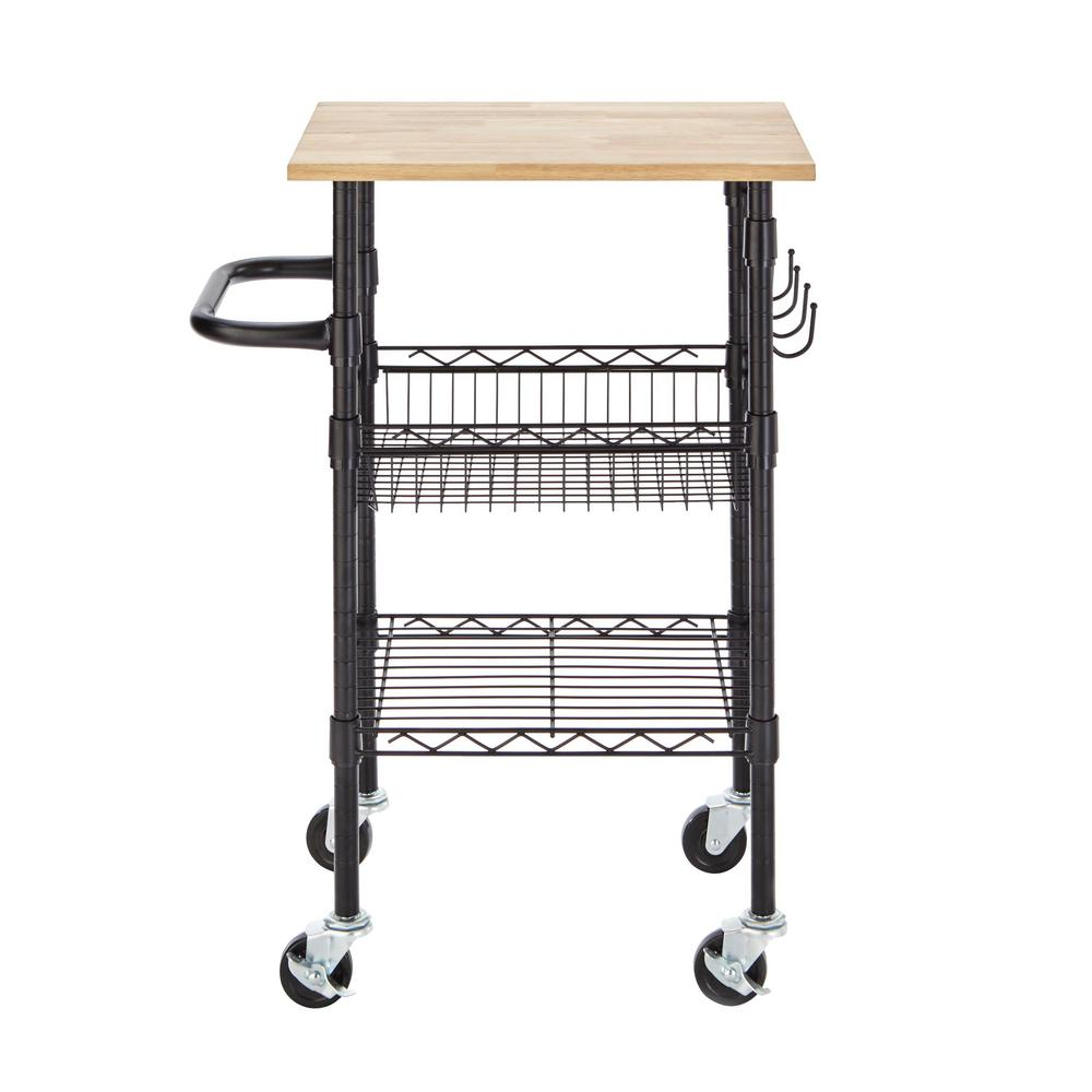 Stylewell Gatefield Black Small Kitchen Cart With Rubber