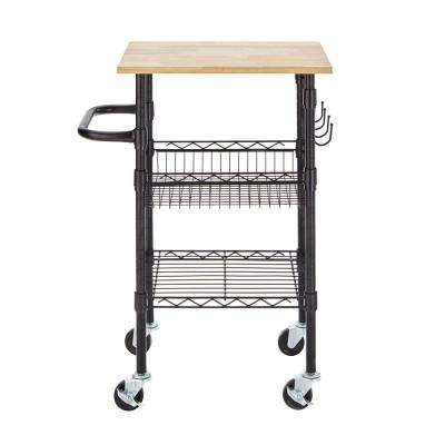 Gatefield Black Small Kitchen Cart with Rubber Wood Top