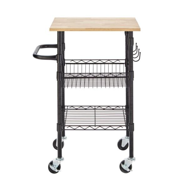 StyleWell Gatefield Black Small Kitchen Cart with Rubber Wood Top