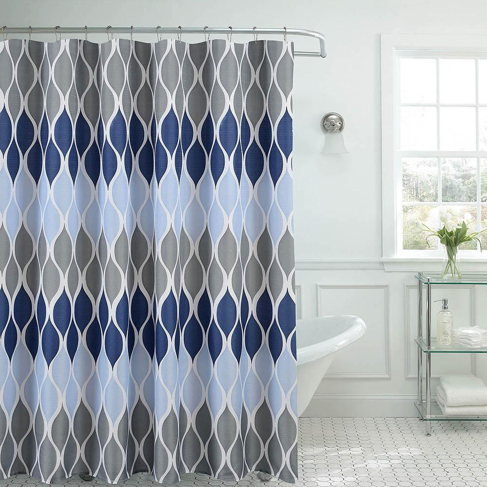 Clarisse Faux Linen 70 in. x 72 in. Blue Textured Shower