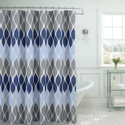 Clarisse Faux Linen 70 in. x 72 in. Blue Textured Shower Curtain with 12-Metal Rings