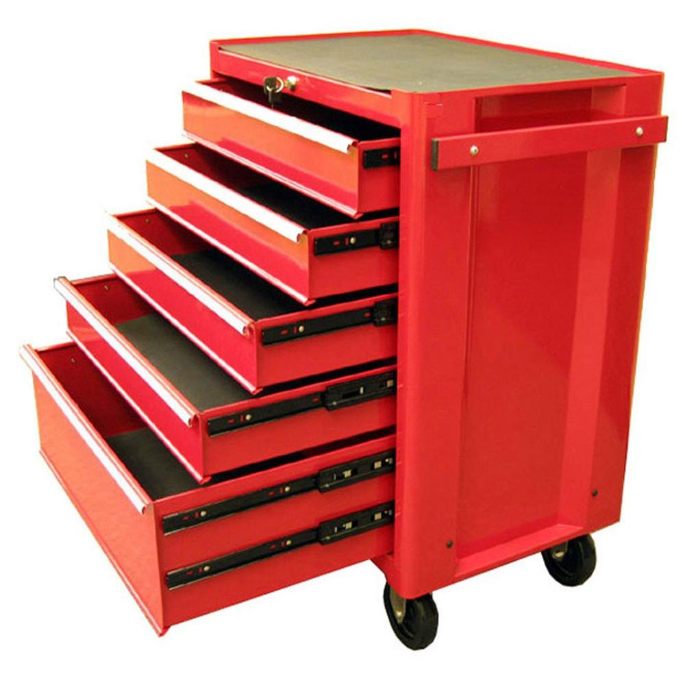 Excel 27 in. 5-Drawer Steel Roller Cabinet Tool Chest in Red ...