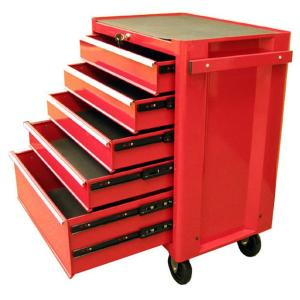 Click here to buy Excel 27 inch 5-Drawer Steel Roller Cabinet Tool Chest in Red by Excel.