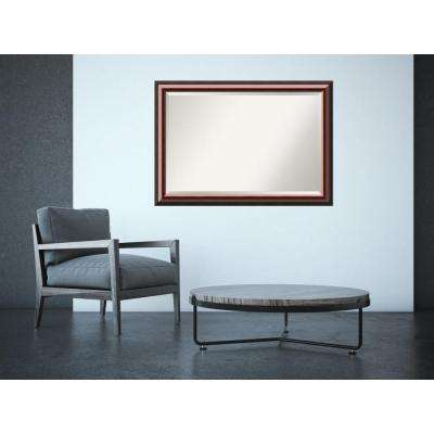 Cambridge Mahogany Wood 40 in. x 28 in. Traditional Framed Mirror