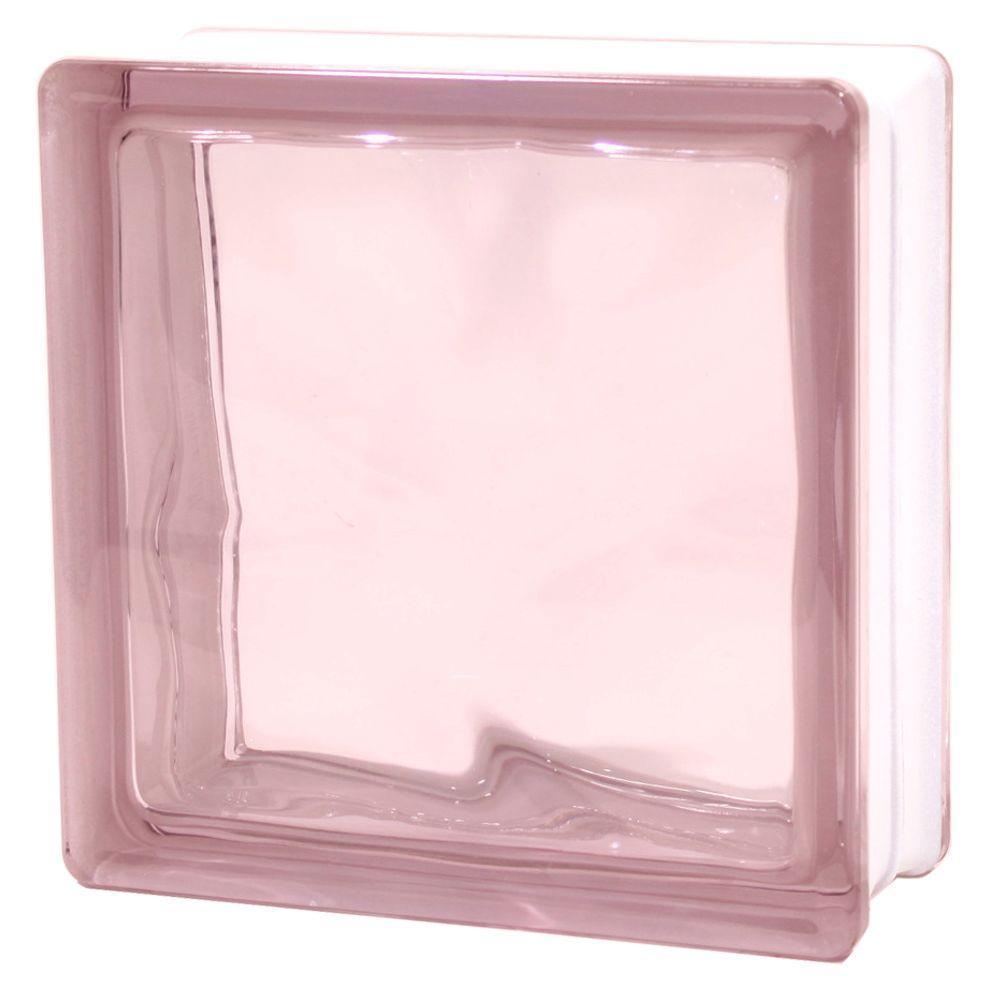 TAFCO WINDOWS 7-1/2 in. x 7-1/2 in. x 3-1/8 in. Wave Pattern Purple Color Glass Block 5/CA